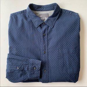 VINCE Navy Print Long Sleeve Button Down Shirt